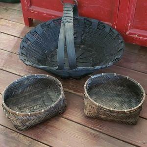 3 Black Baskets. Halloween Baskets